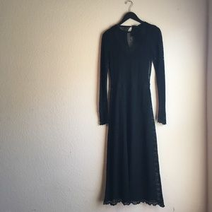 Zara long sleeve knit black maxi dress